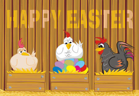 egg laying: happy easter - suprised poultry and easter eggs