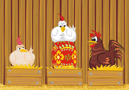 laying egg: hen and paited egg - easter day Illustration