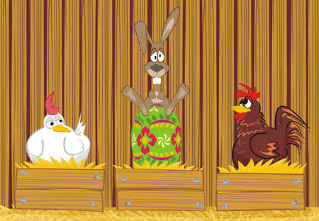 easter rabbit in the henhouse Vector