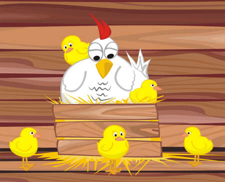 in the henhouse  -  hen and her chicken Stock Vector - 12009008