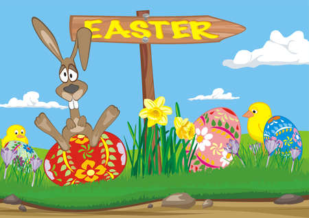 easter  - road sign  Vector