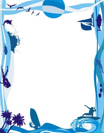 zee frame - watersporten Stock Illustratie