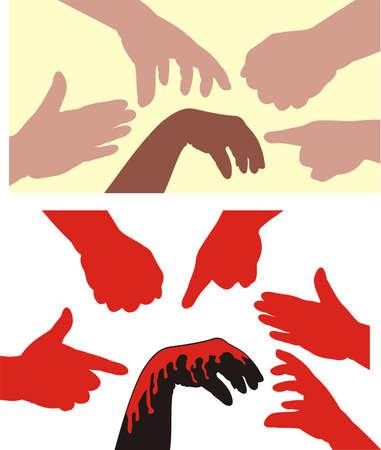rassismus: Rassismus - menschliche H�nde Illustration