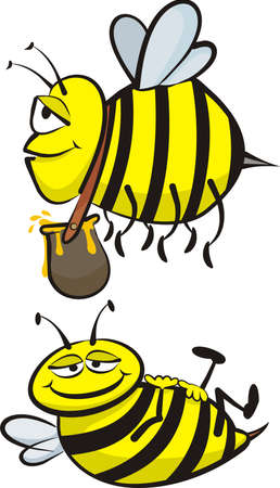 industrious: industrious and lazy bee Illustration