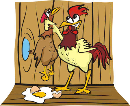 in the hen house - arguing Stock Vector - 12461770