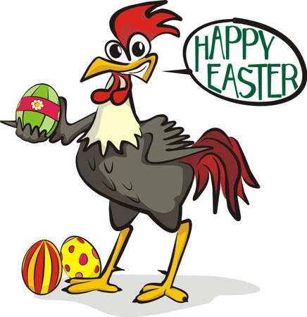 happy easter - rooster and painting eggs Vector