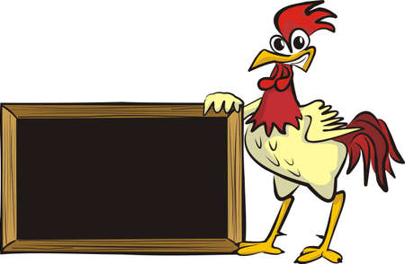 poultry farming: encourages cock - blank board Illustration