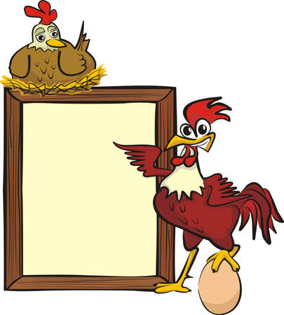 poultry farming: rooster, hen and billboard
