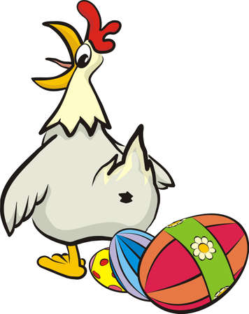 surprised hen and her easter eggs Stock Vector - 12461772