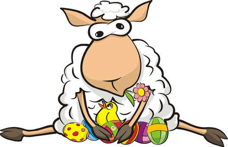 spring lambs: surprised sheep - happy easter Illustration