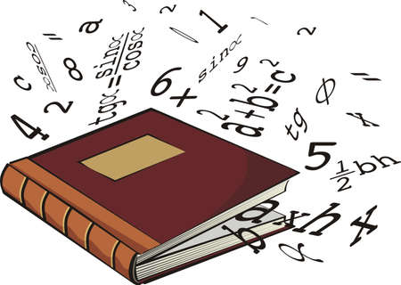 glossary: school textbook - numbers and mathematical formulas Illustration