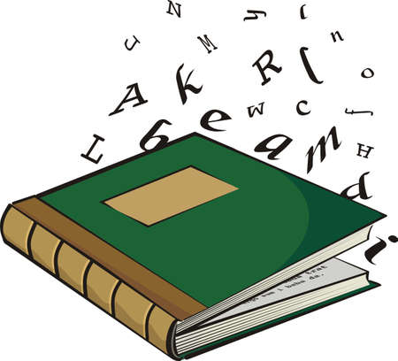 glossary: school textbook - the letters and words Illustration