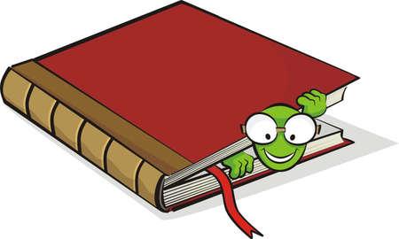 bücherwurm: B�cherwurm und Buch Illustration