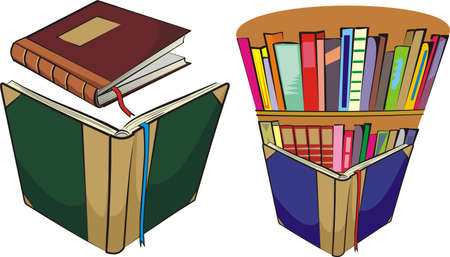books and library Vector