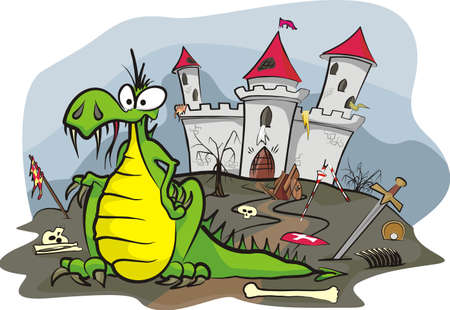 dragon under the castle Stock Vector - 12788500