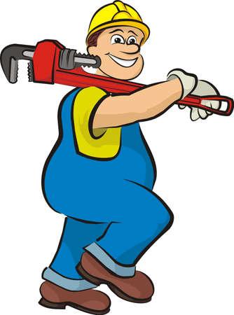 idraulico: sorridente idraulico 2 - in abiti da lavoro