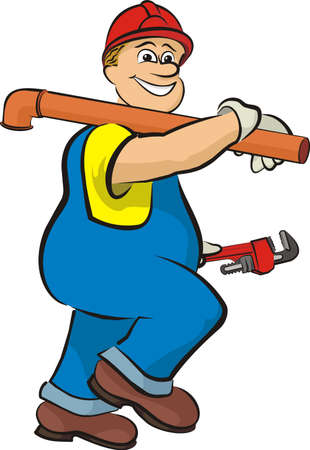 smiling plumber - in working clothes