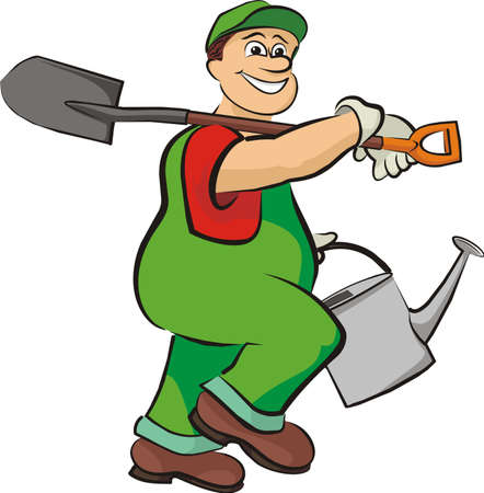 watering plants: smiling gardener - in working clothes Illustration