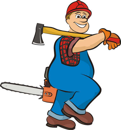 smiling lumberjack - in working clothes Ilustrace