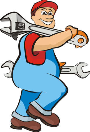 smiling mechanic - in working clothes Ilustracja