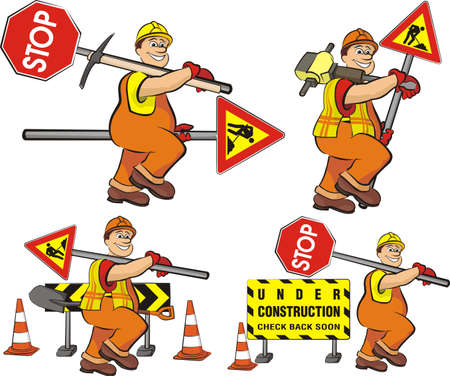 road worker: road worker - under construction