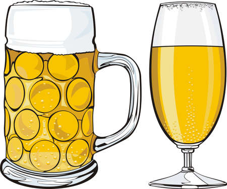 beer mug and glass Vector