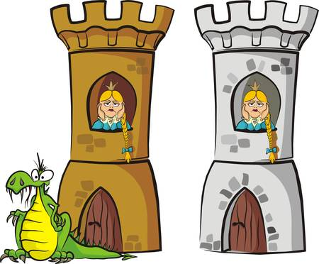castle tower: princess waiting for release Illustration