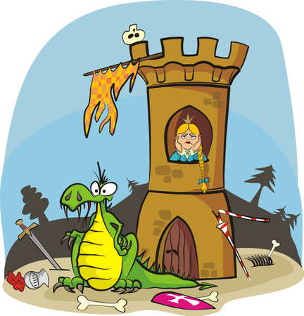 dragon and princess in tower Vector