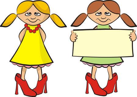 kleine Fashionistas mit Banner Vektorgrafik