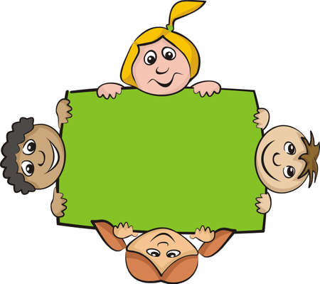children around the billboard Stock Vector - 13016815