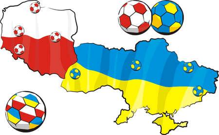 european championship - poland and ukraine Vector