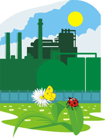 green environment: eco friendly industry Illustration