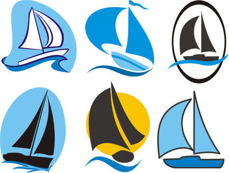 yachtsman: sailing icons Illustration