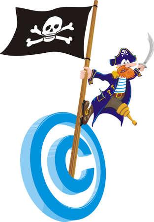 drapeau pirate: le piratage du droit d'auteur