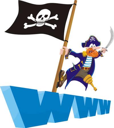 drapeau pirate: le piratage - sites Illustration