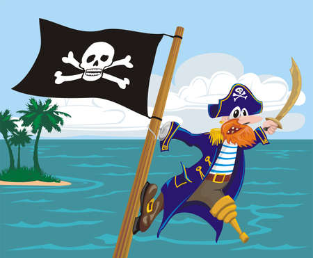 menacing pirate and jolly roger Stock Vector - 13119903