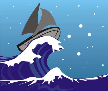 mare agitato: vela sulle onde Vettoriali