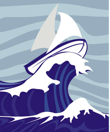 barca a vela: sul mare tempestoso - regata Vettoriali