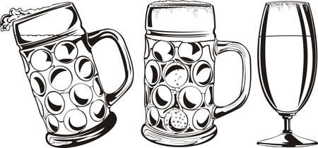 dryness: beer mug and glass - black and white Illustration