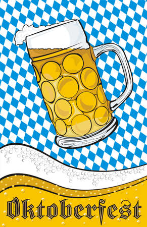 draft beer: mug of beer - oktoberfest Illustration
