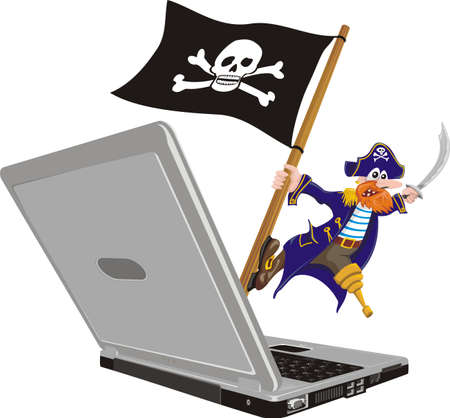 threat of violence: pirate computer Illustration
