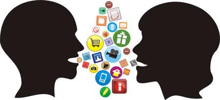 conversation icon: social network - modern conversation Illustration