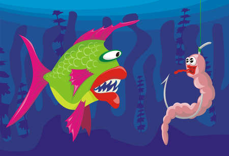 fishing lure: worm and dangerous fish  Illustration
