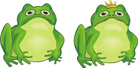 amphibian: frog and frog king Illustration