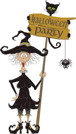halloween party - signboard Vector