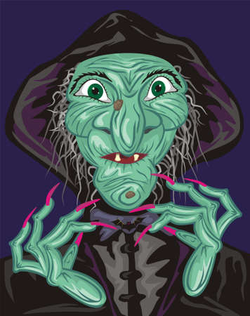 heks: groene heks gezicht Stock Illustratie
