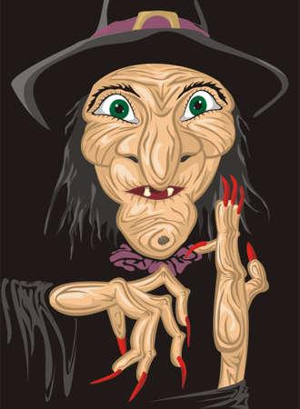 heks: heks gezicht Stock Illustratie