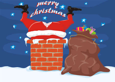 santa in the chimney - merry christmas Vector