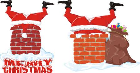 santa in the chimney  Ilustracja