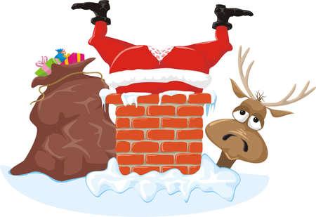 santa in the chimney and reideer Illustration